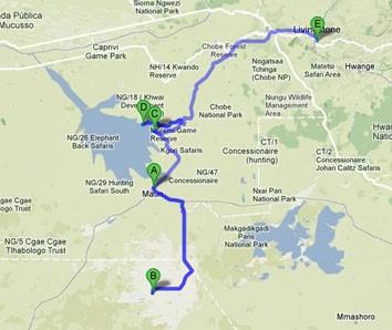 mapa ruta botswana