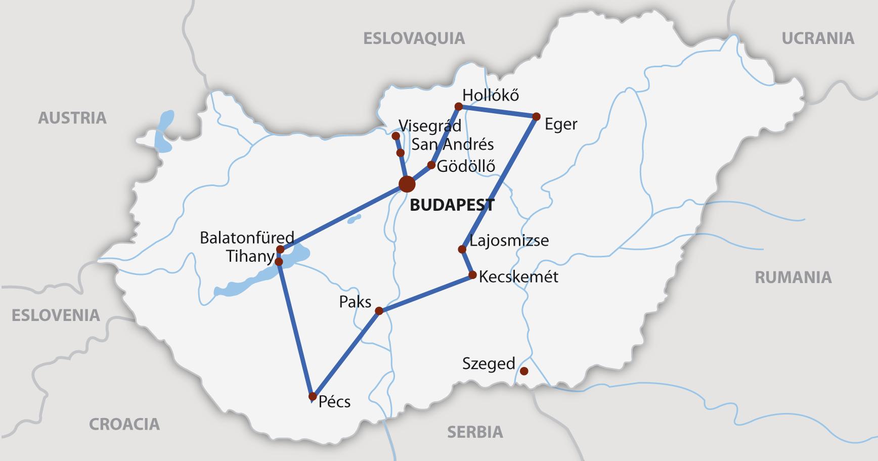 Circuito Hungria : Mapa circuito hungria viatges rovira