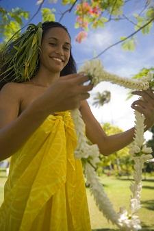 bienvenida en polinesia collar de flores