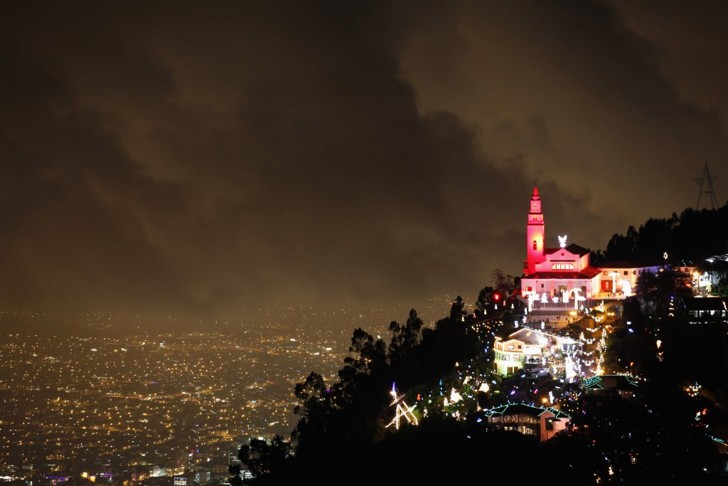 General view of illuminated Christmas decorations at Monserrate church in Bogota